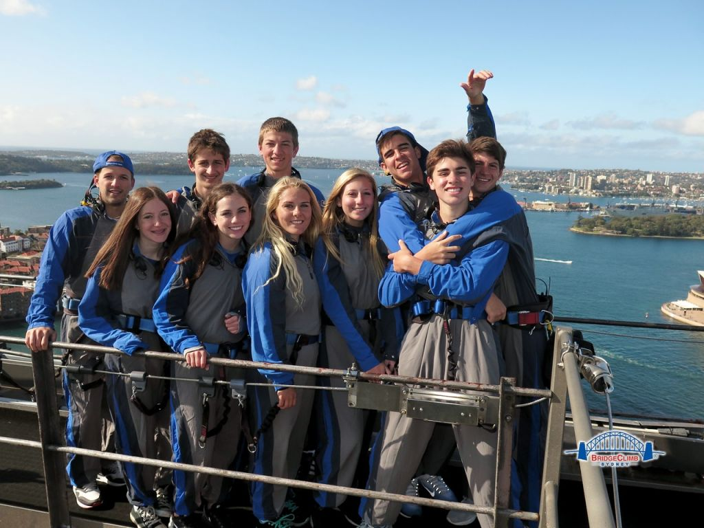 At the top of the famous Sydney Harbour Bridge!
